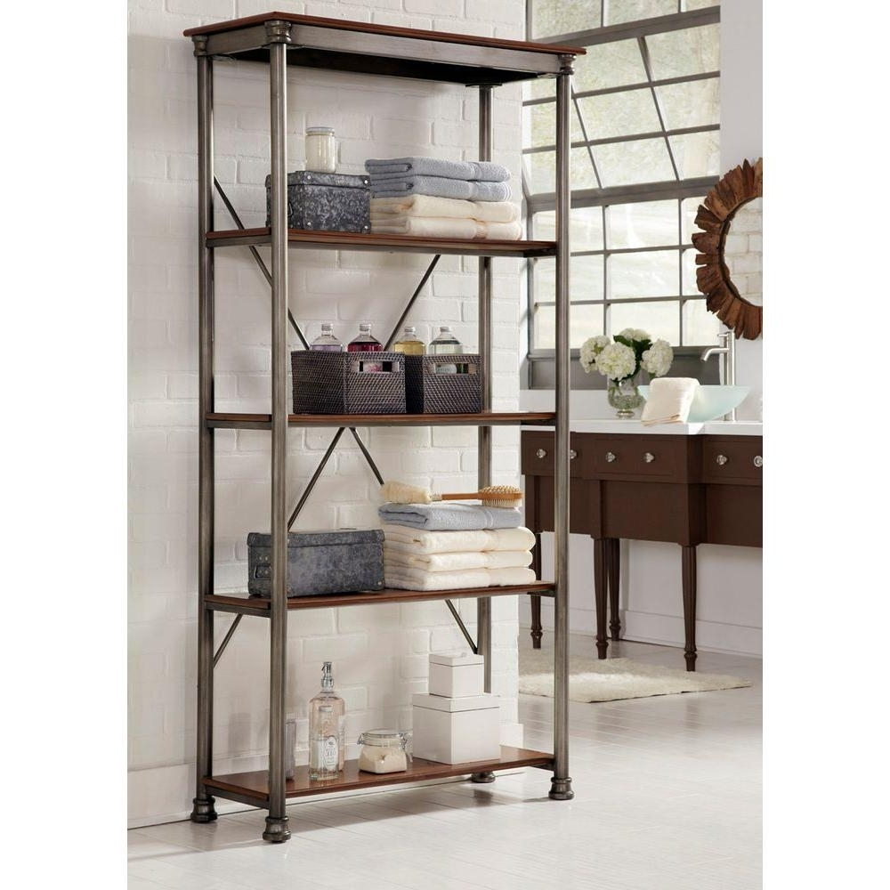 Free Standing Shelving Units Wood For Most Recent Home Styles Five Shelf 38 In. W X 76 In. H X 16 In (View 3 of 15)