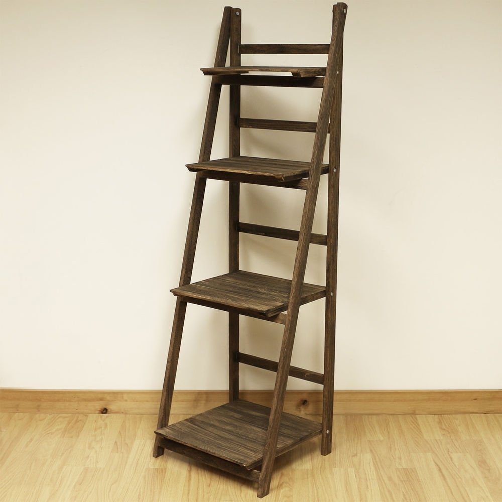 Freestanding Bookcases Intended For Widely Used 4 Tier Brown Ladder Shelf Display Unit Free Standing/folding Book (View 8 of 15)