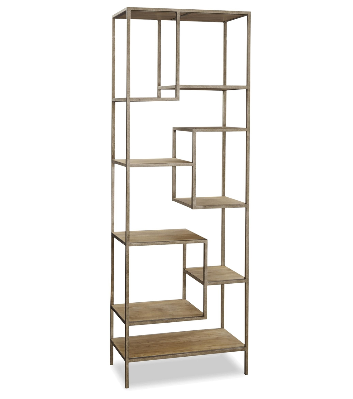 French Modern Industrial Wood + Metal Bookcase Etagere (View 10 of 15)