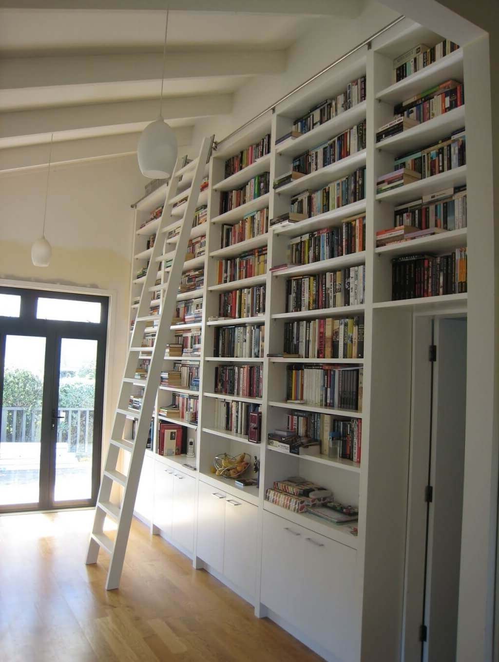 Furniture: Astounding White Library Rolling Ladder For Large White With Regard To Current Sliding Library Ladder (View 4 of 15)