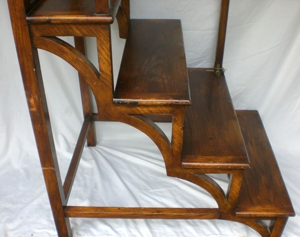 Furniture: Classic Wooden Library Ladder Design – Library Ladder Inside Favorite Wooden Library Ladders (View 2 of 15)