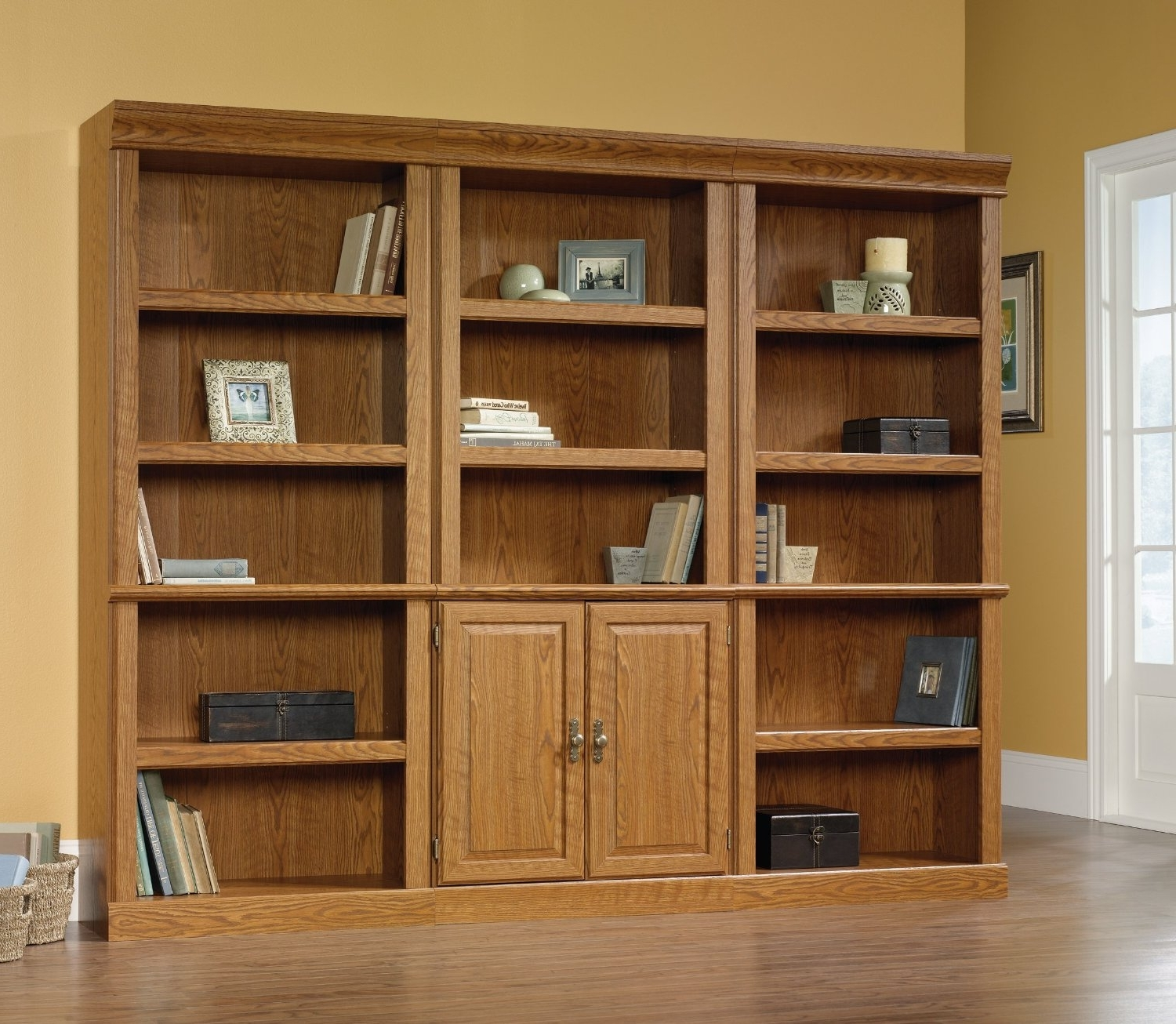 Furniture: Cool Wood Sauder Bookcase Design With White Glass Door Within 2017 Real Wood Bookcases (View 7 of 15)