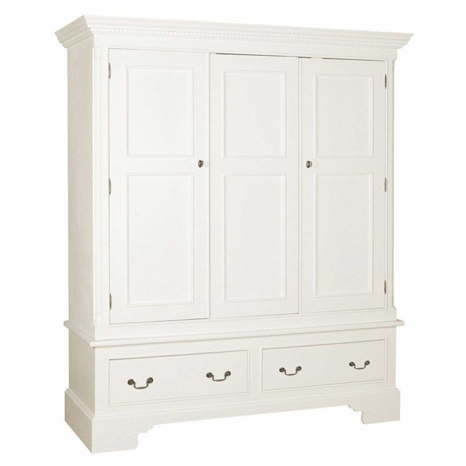 Georgian Shabby Chic White Painted Triple 3 Door 2 Drawer Wardrobe In Recent 3 Door White Wardrobes (View 7 of 15)