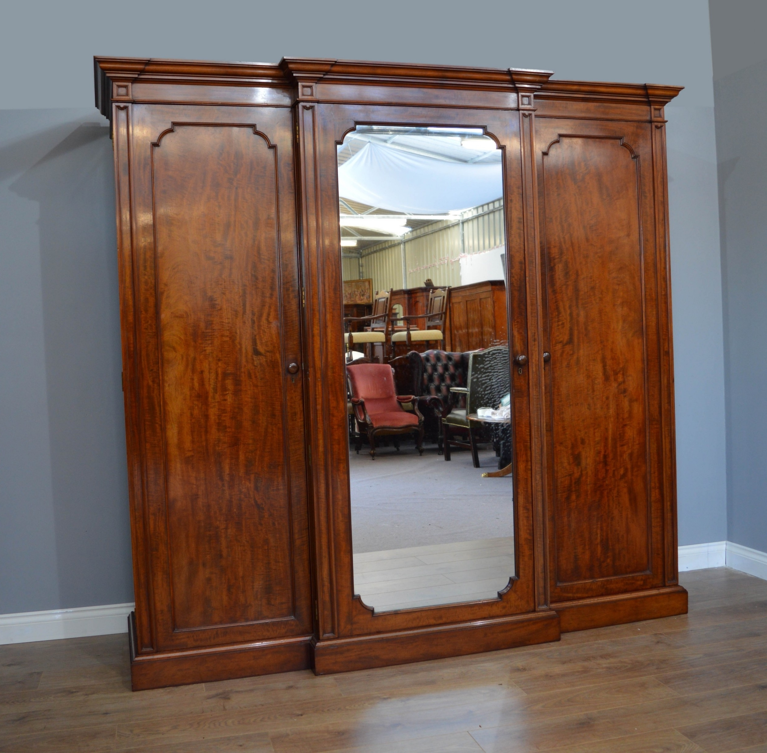 Gillow Antique Victorian Mahogany Breakfront Triple Wardrobe With Well Known Victorian Mahogany Breakfront Wardrobes (View 9 of 15)
