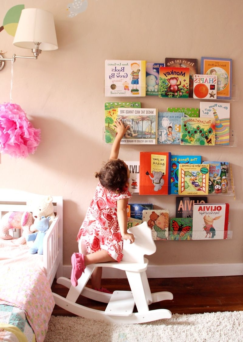 Girls' Room: Acrylic Bookshelves & A Library Wall (pepper Design Inside Latest Acrylic Bookcases (View 10 of 15)