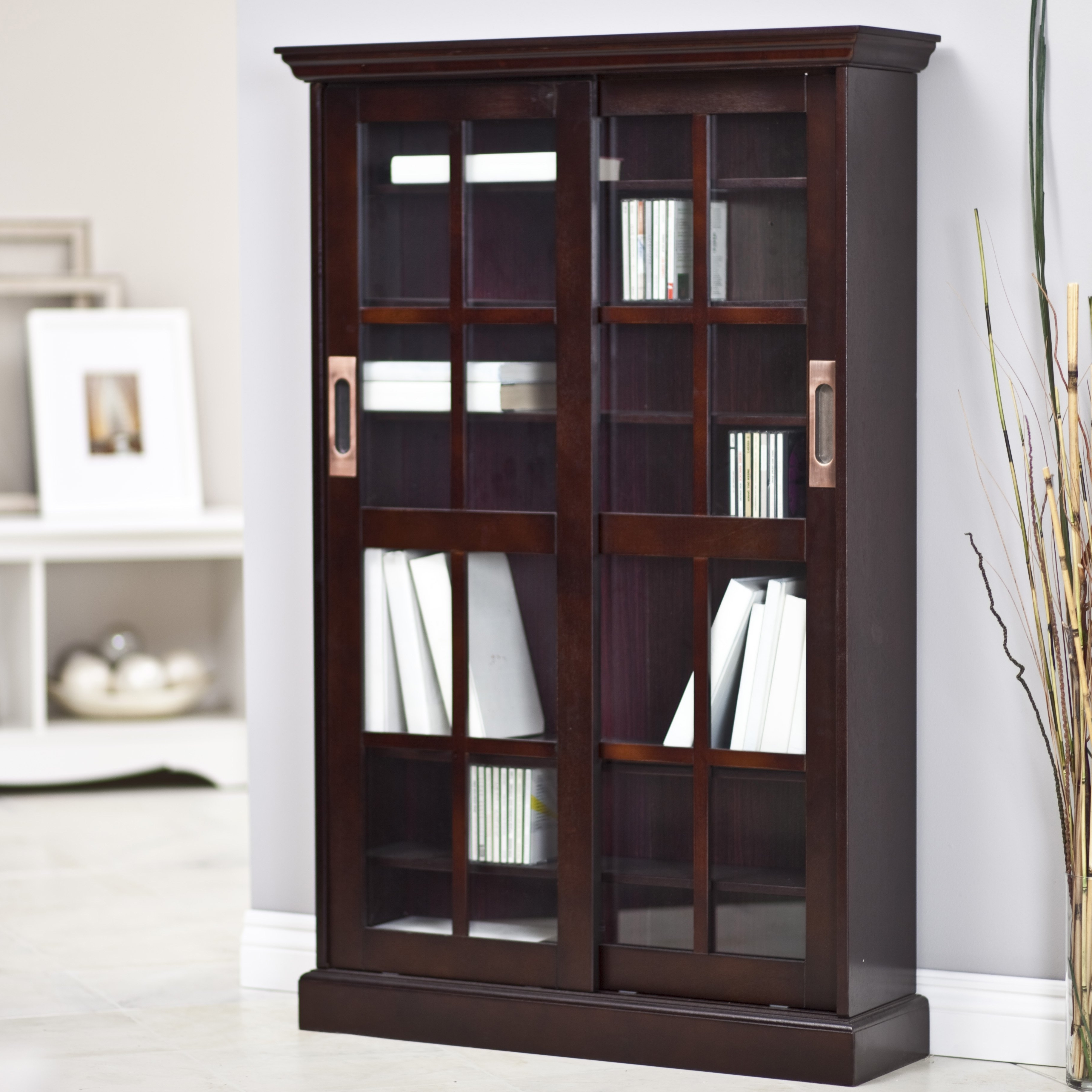 Glass Cabinet : Magnificent Southern Enterprises Sliding Door Regarding Well Liked Media Bookcases (View 4 of 15)