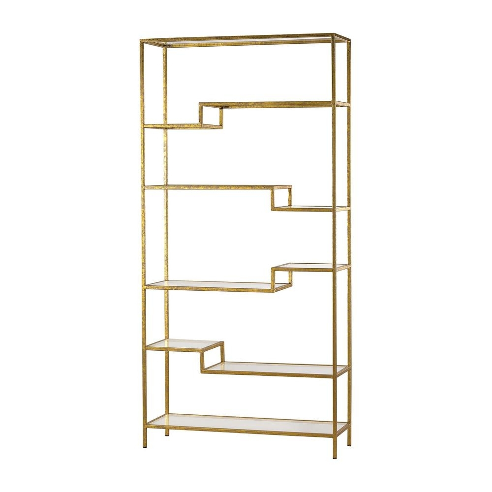 Gold Bookcases Inside Recent Titan Lighting Gold Open Bookcase Tn 892616 – The Home Depot (View 3 of 15)