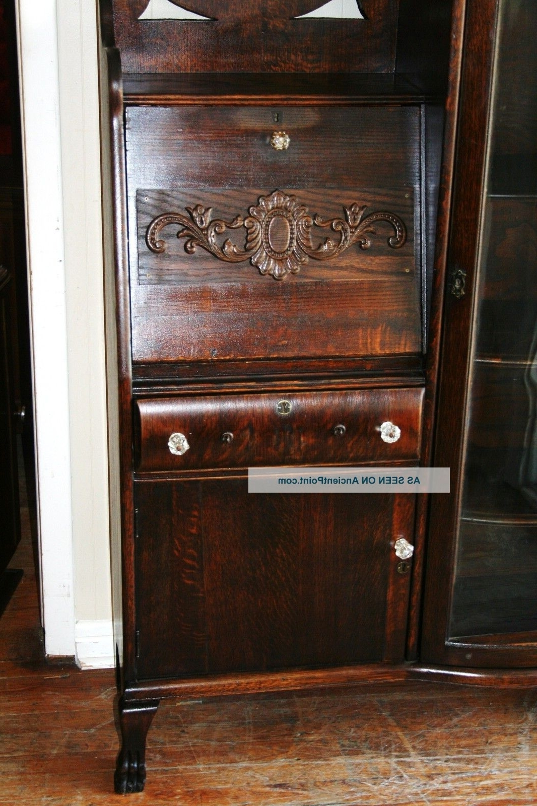 Gorgeous American Antique Drop Front Oak Secretary Desk Side For Widely Used Antique Drop Front Secretary Desk With Bookcases (Gallery 11 of 15)
