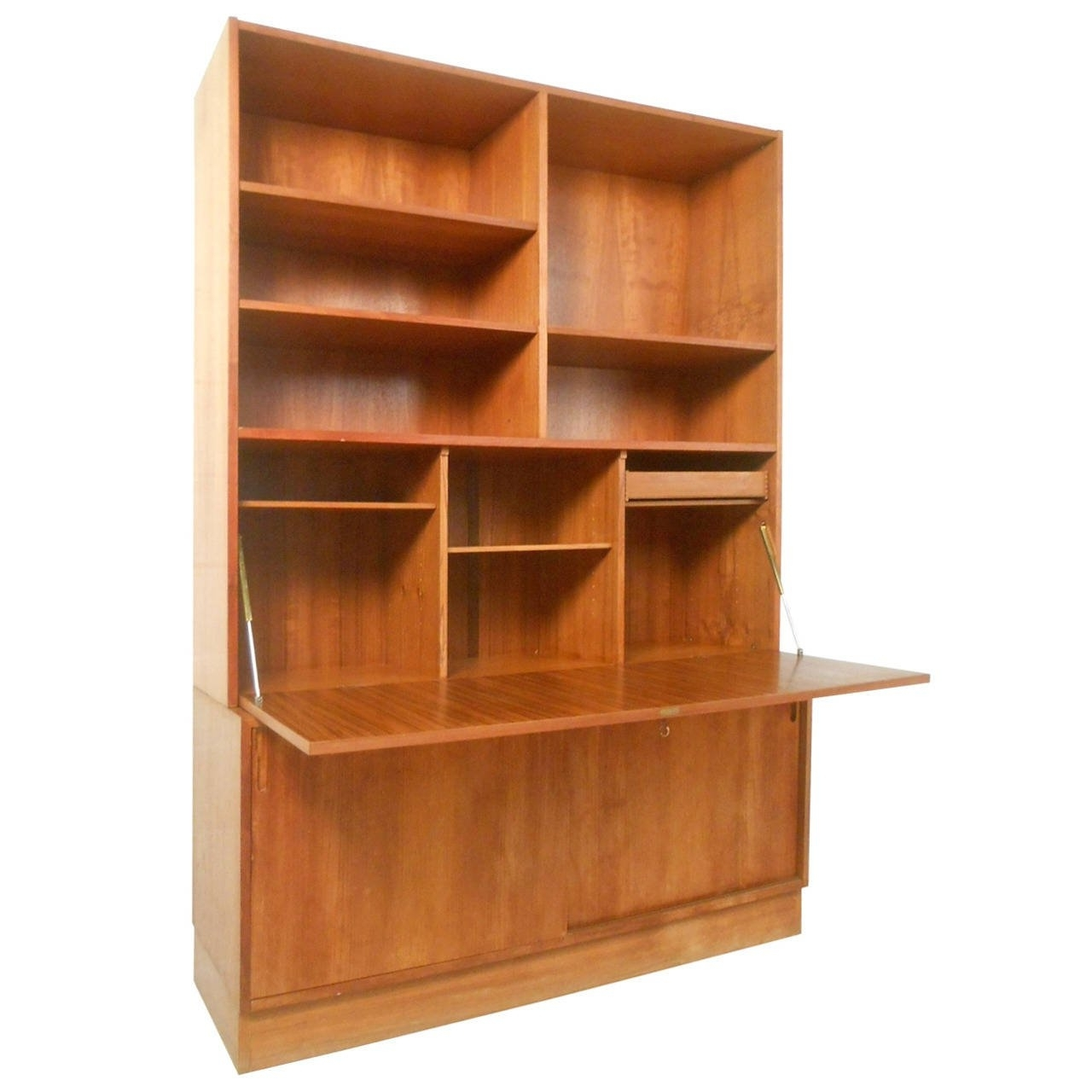 Gorgeous Mid Century Modern Danish Teak Drop Front Secretary Throughout Well Known Teak Bookcases (Gallery 7 of 15)