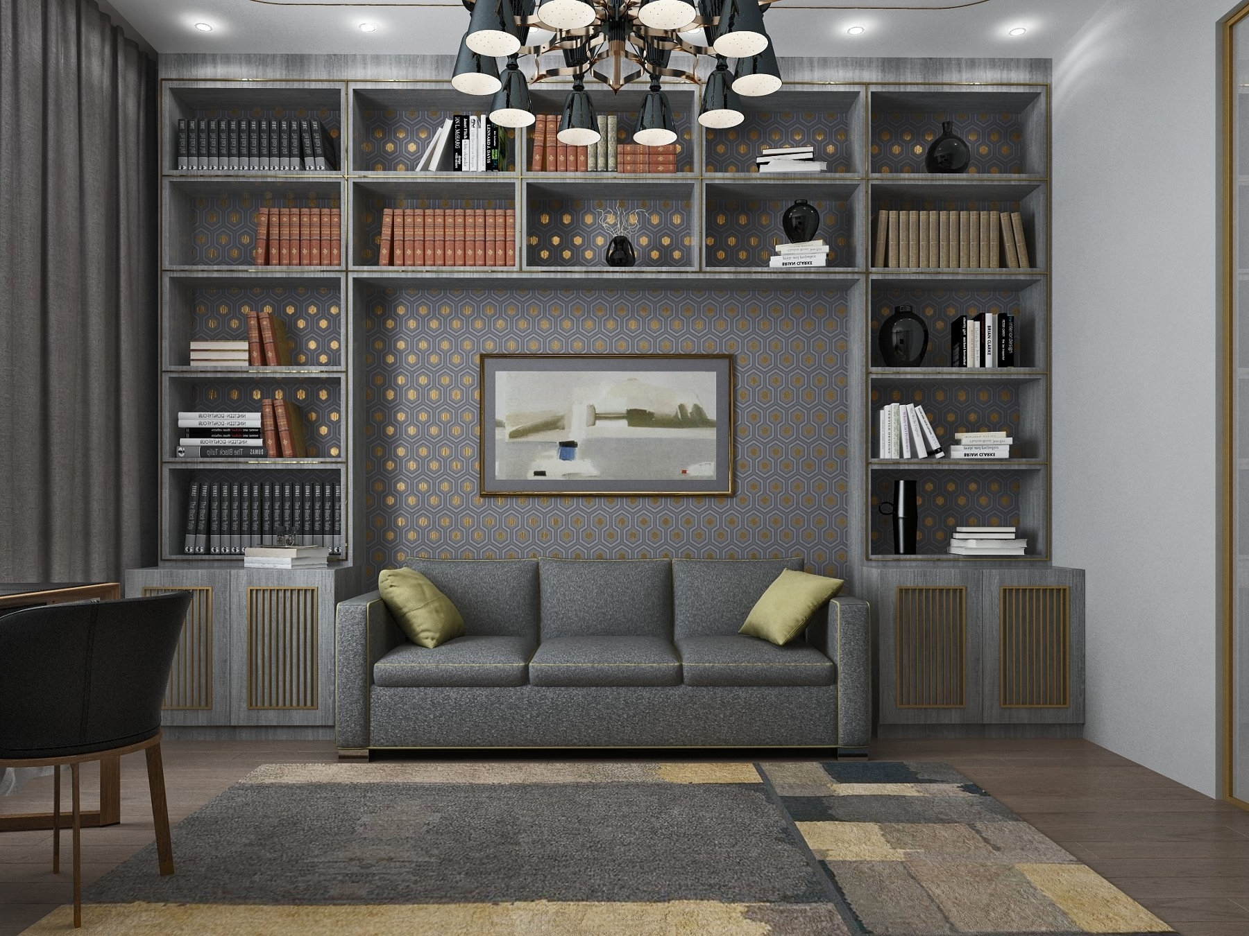 Grey Ar Deco Living Room. Sofa Between Bookcases. Shelves (View 6 of 15)