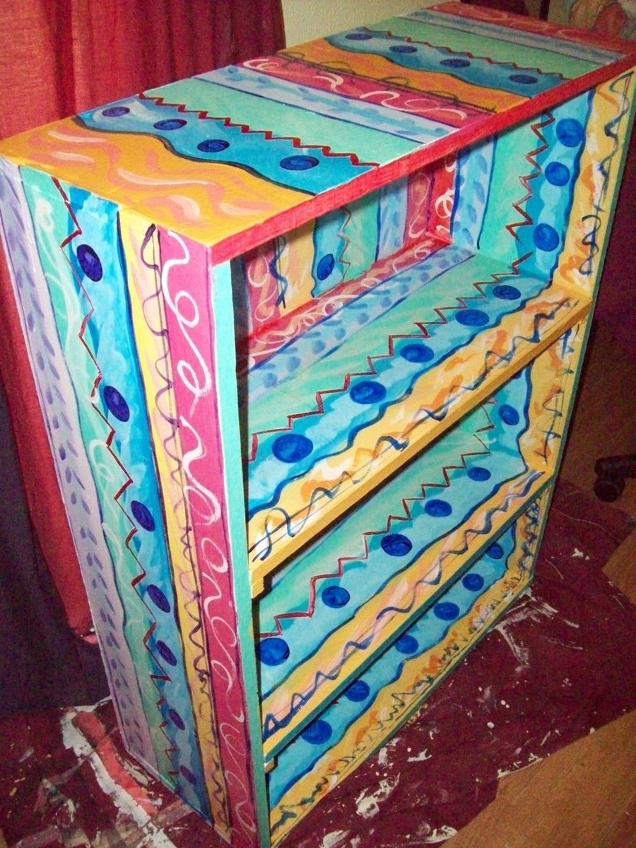 Hand Painted Bookcases For 2017 Hand Made Bookcase Handpainted Multicolored 4 Shelvesi Paint (View 2 of 15)