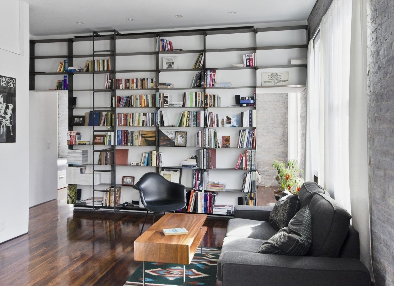 Handmade Minimal, Blackened Steel Bookshelves With Rolling Library With Regard To Trendy Bookcases With Ladder (View 9 of 15)