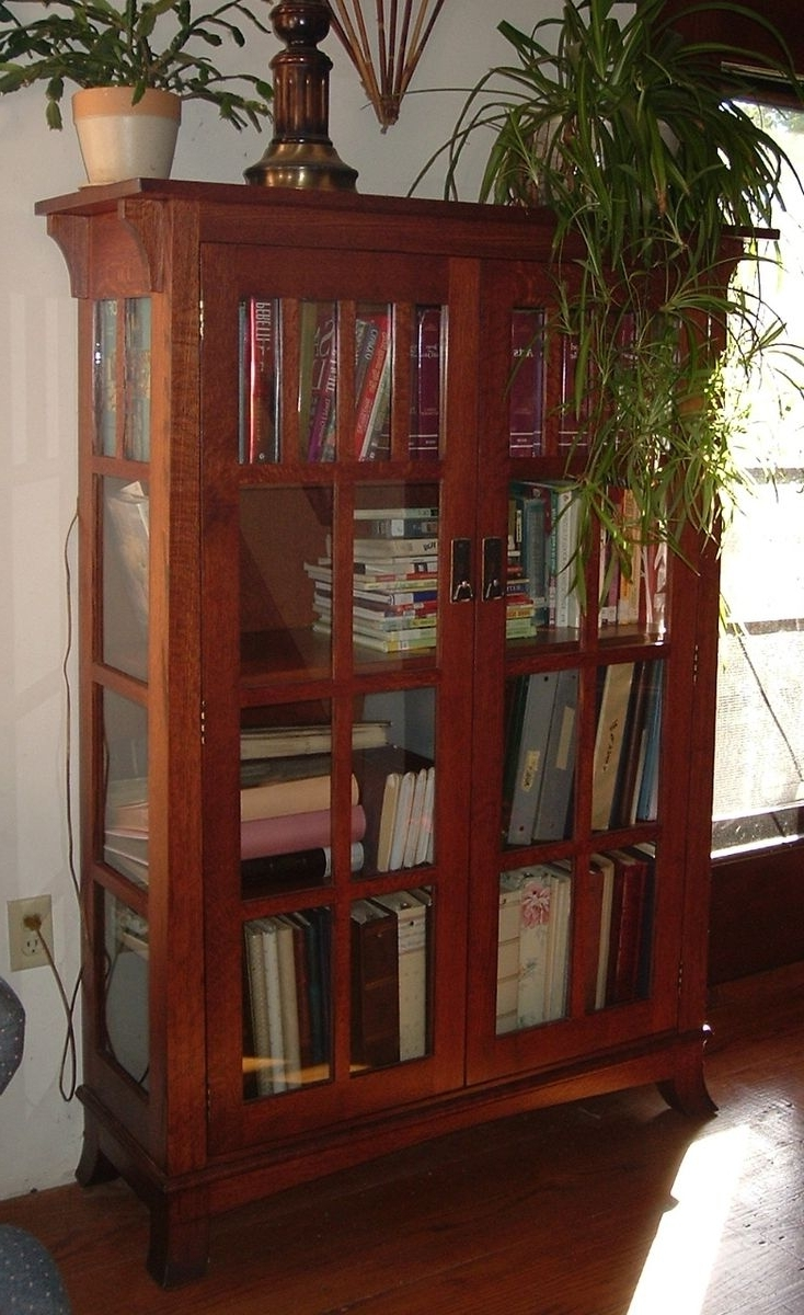 Handmade Mission Bookshelf With Glass Doorsivy Lane Fine Throughout Most Popular Mission Bookcases (View 6 of 15)