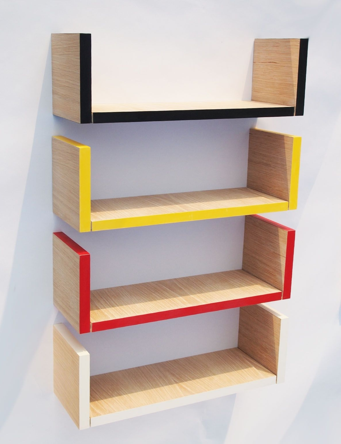 Hanging Bookcases With 2017 Ideas Modern Red Yellow Red And White U Shaped Wall Mounted (View 8 of 15)
