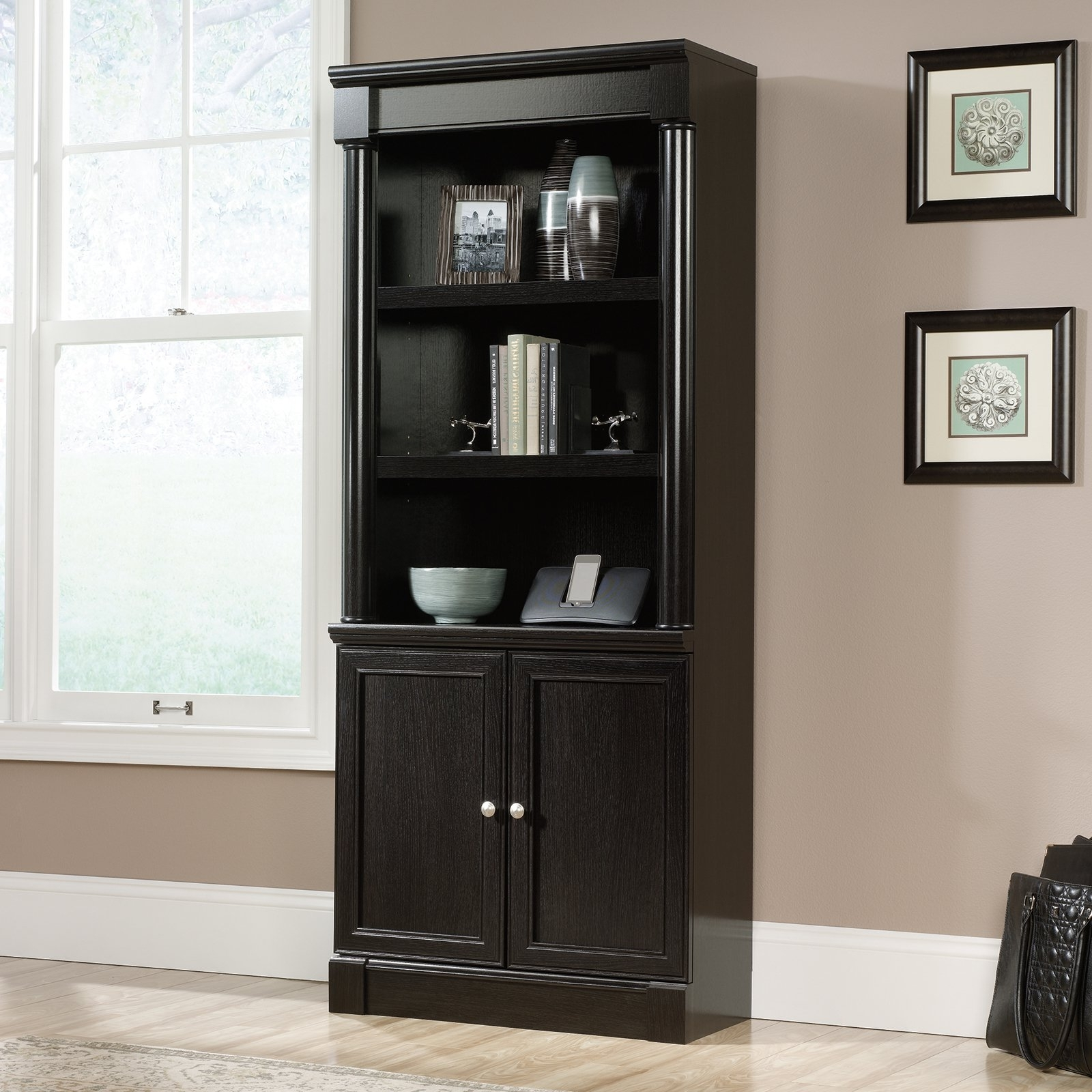 Hayneedle Throughout Black Bookcases With Doors (View 10 of 15)