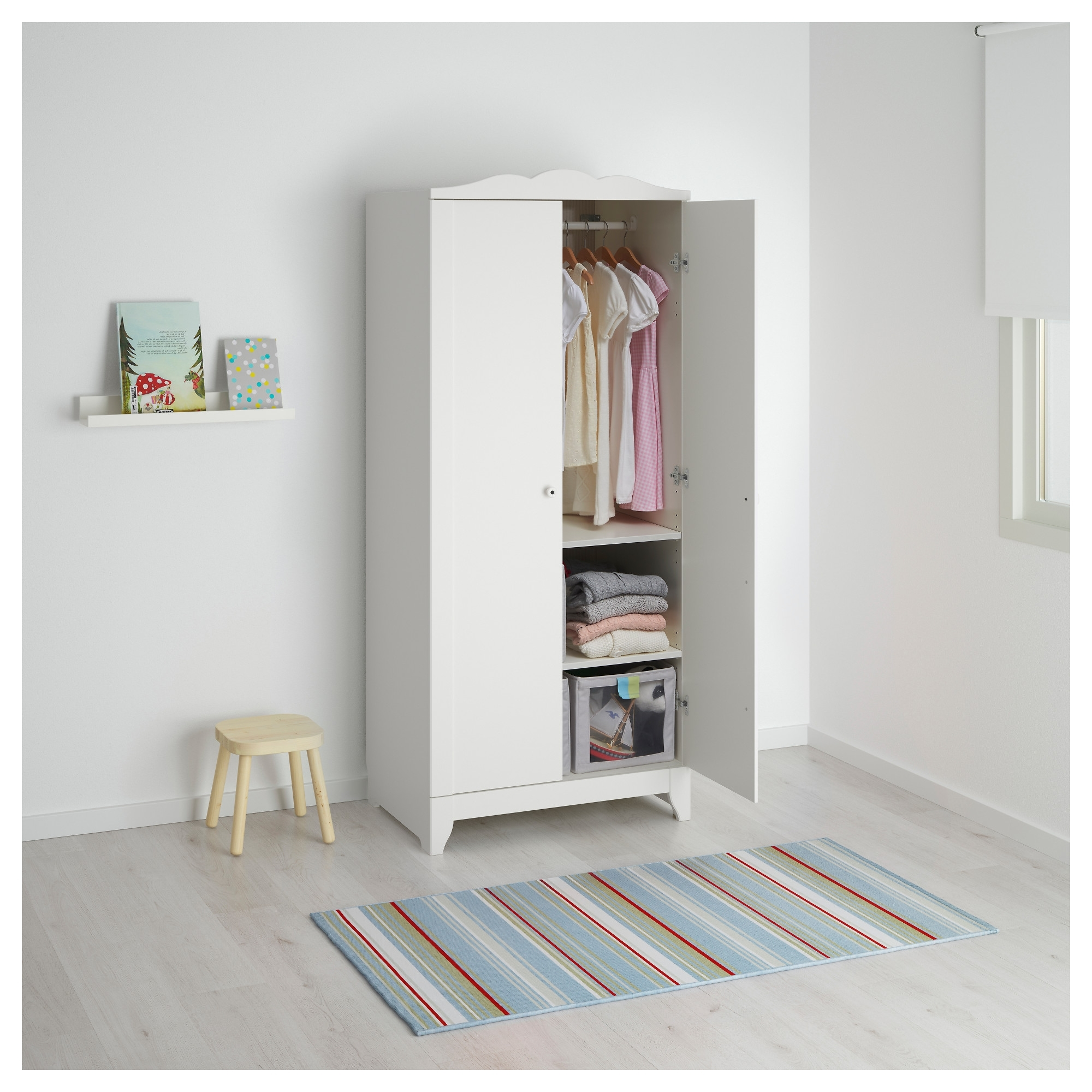 Hensvik Wardrobe White 75X174 Cm – Ikea Throughout Best And Newest Childrens Double Rail Wardrobes (View 7 of 15)