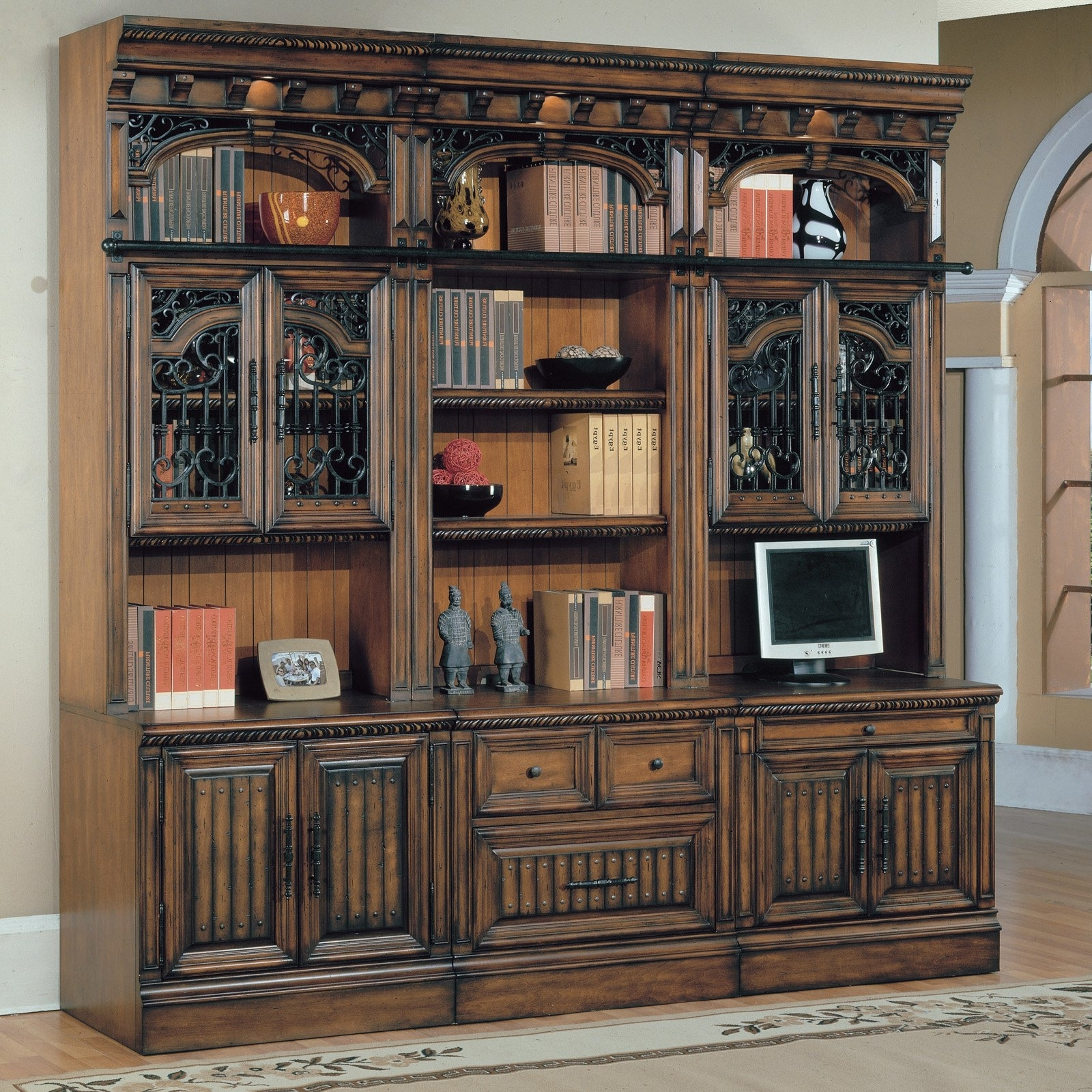 Home Decoration : Oversized Vintage Wood Bookshelves Wall Unit For Best And Newest Classic Bookshelves Design (View 13 of 15)