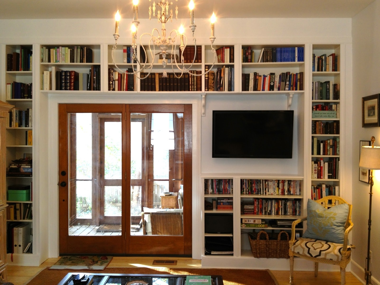 Home Library Shelving With Famous Home Design: Under Tv Shelves Integrated With Home Library Design (View 12 of 15)
