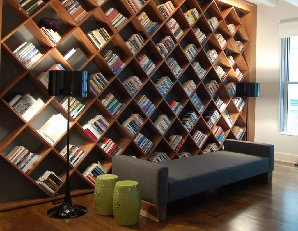Home Library Shelving Within Best And Newest Cozy Modern Home Library Designs With Unique Wooden Wall Shelves (View 2 of 15)