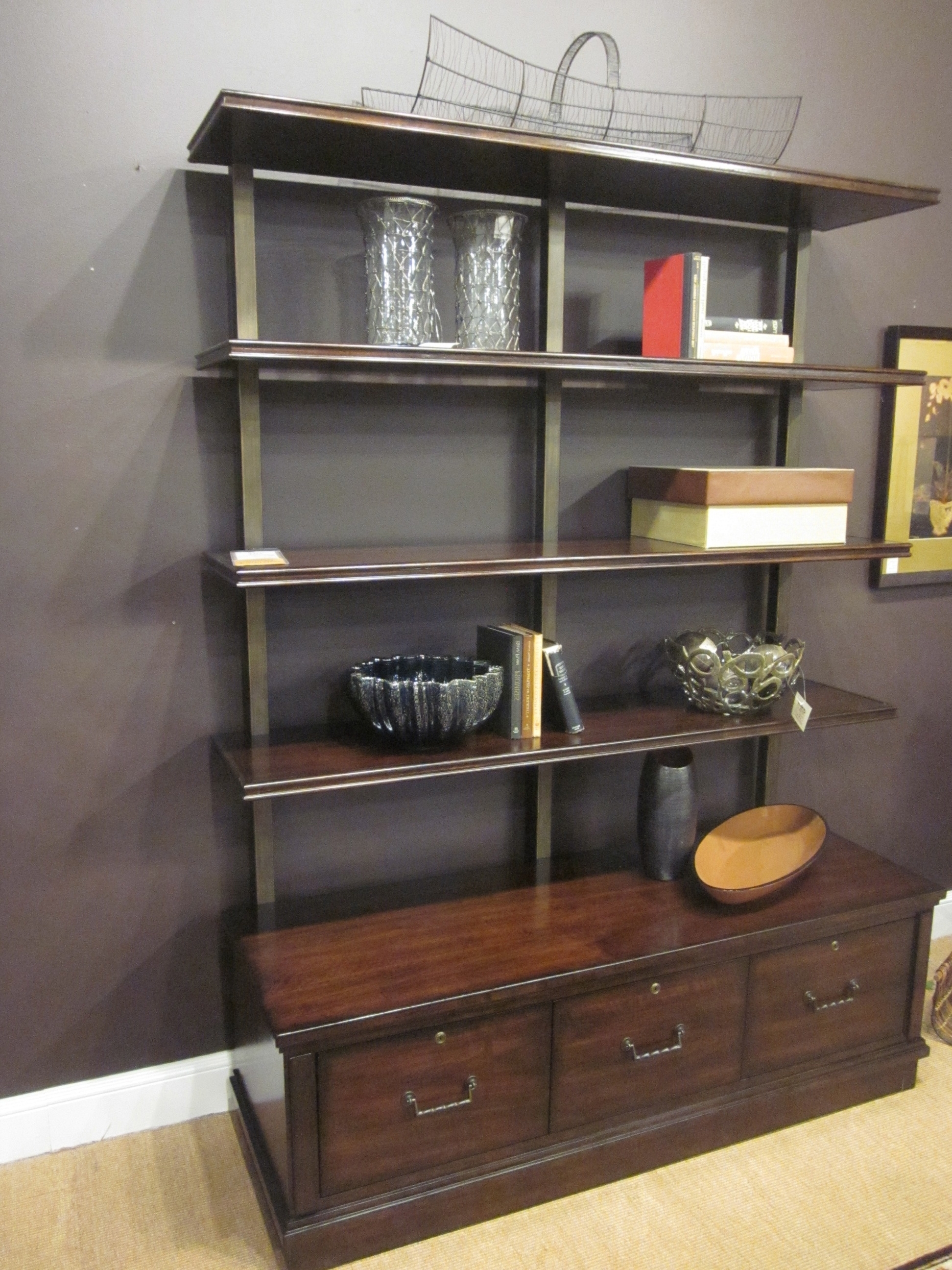 Hooker Furniture Palisade Bookcase In Figured Walnut, 3 Locking Pertaining To 2017 Locking Bookcases (View 4 of 15)
