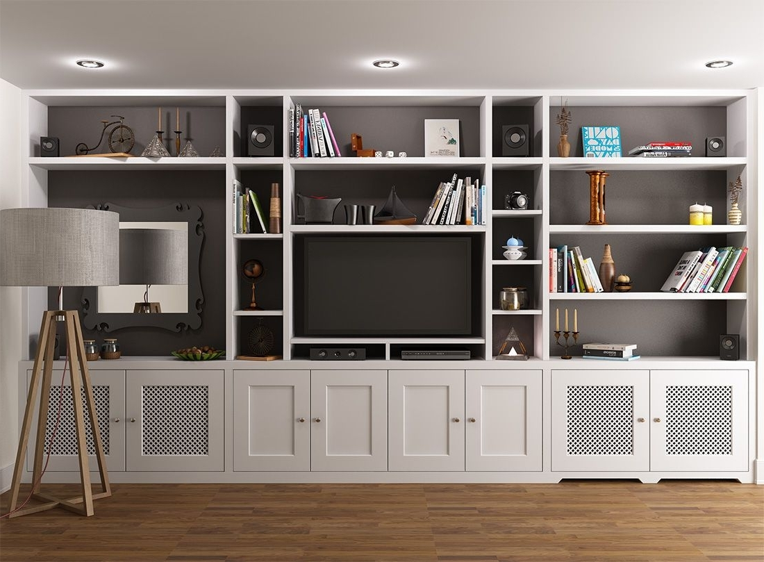I Like The Middle Section Of This Unit With The Cupboards Below Throughout Widely Used Tv And Bookshelves (Gallery 3 of 15)