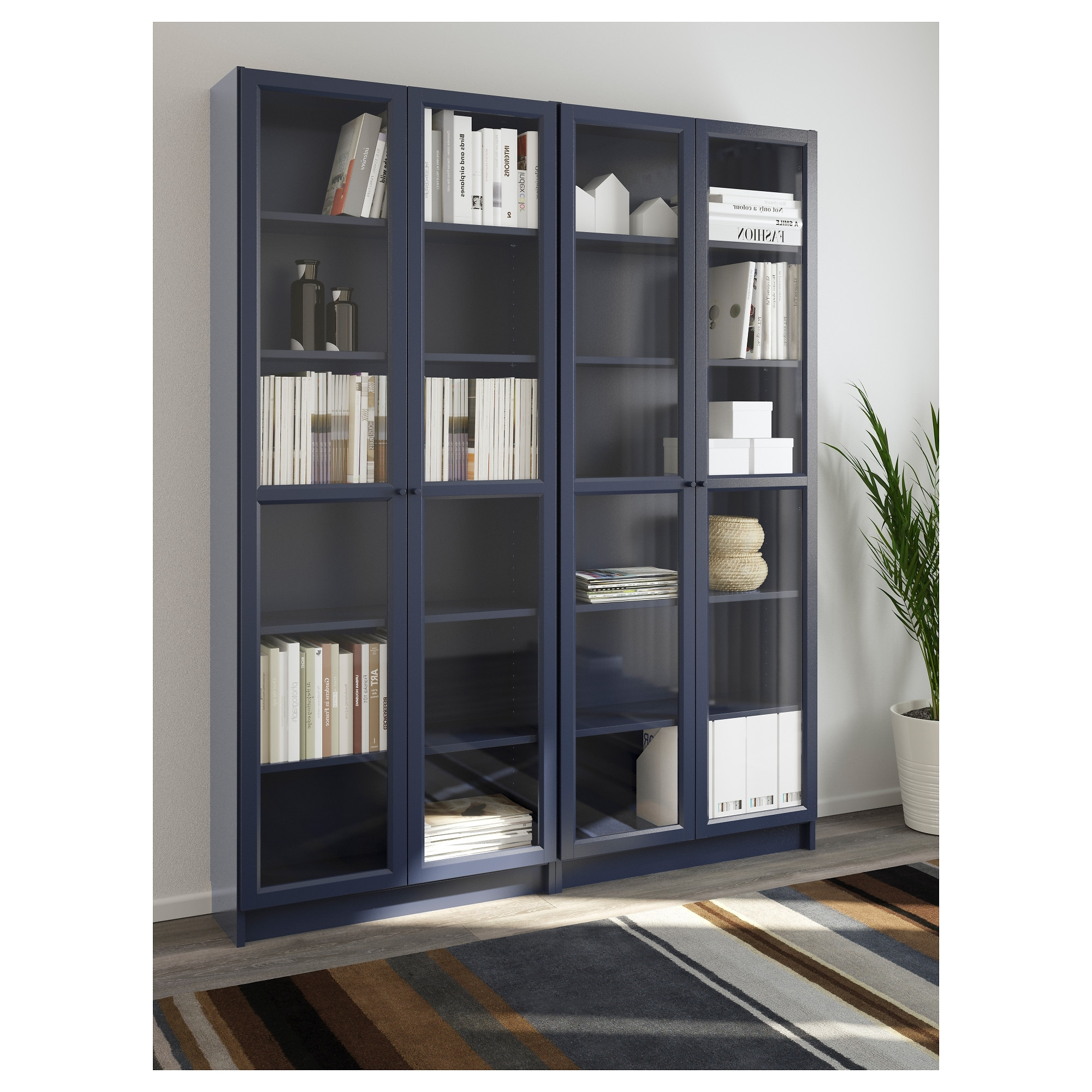 Ikea Billy Bookcases For Famous Billy / Oxberg Bookcase – White/glass, 160X202X28 Cm – Ikea (View 9 of 15)