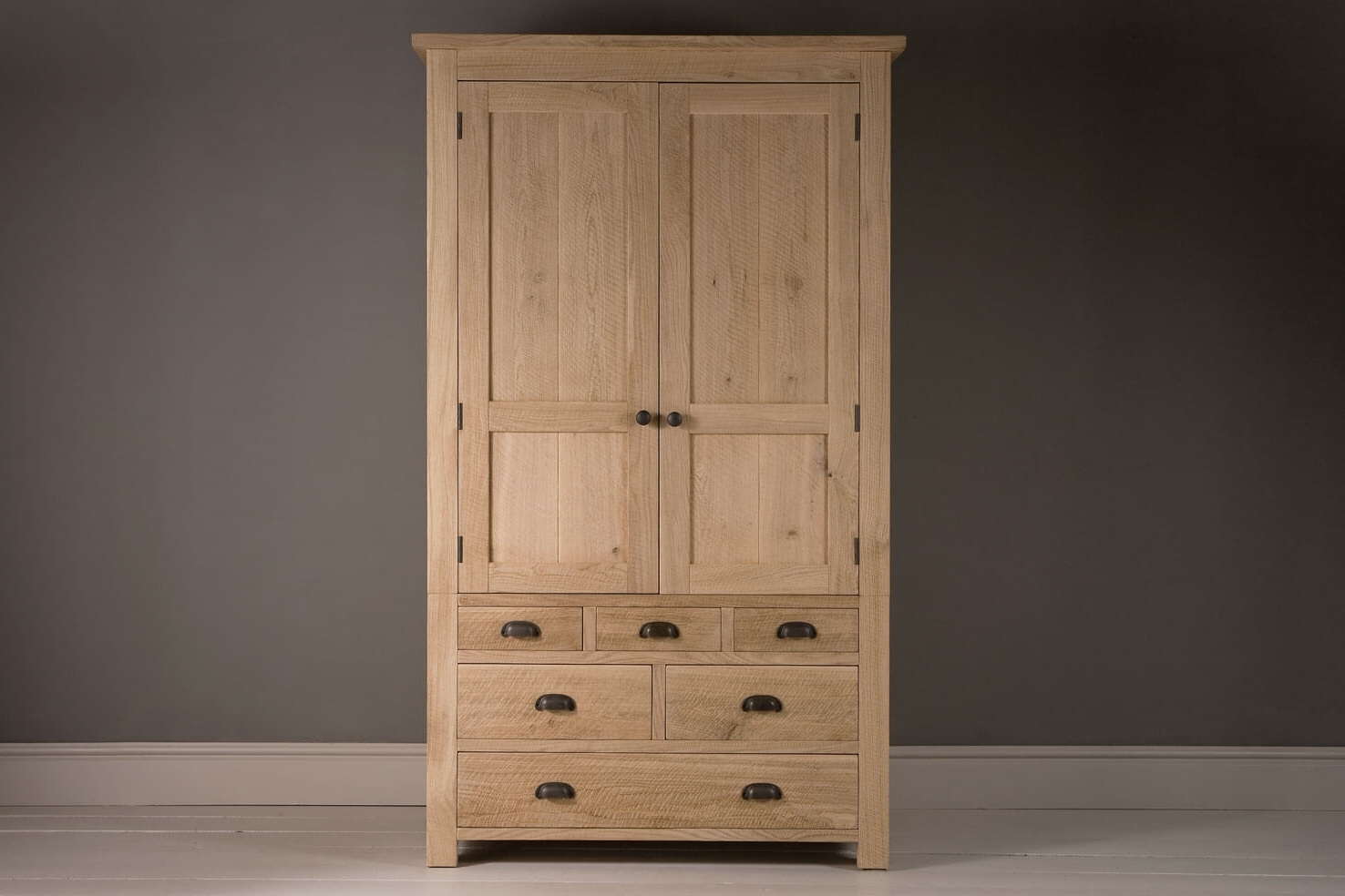 Indigo Furniture With Double Rail Oak Wardrobes (View 6 of 15)