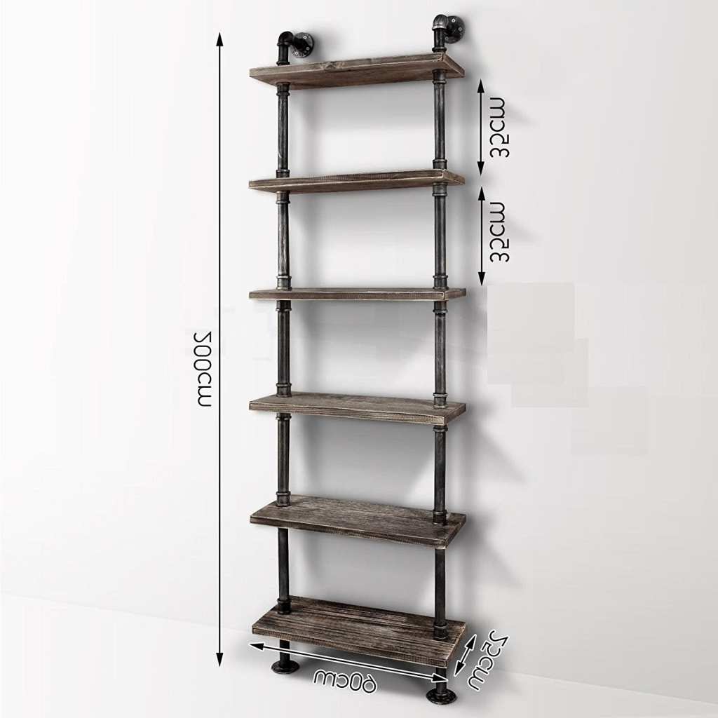 Industrial Style Bookcases Inside Widely Used Furniture: Industrial Style Bookcase Luxury Industrial Pipe (View 12 of 15)