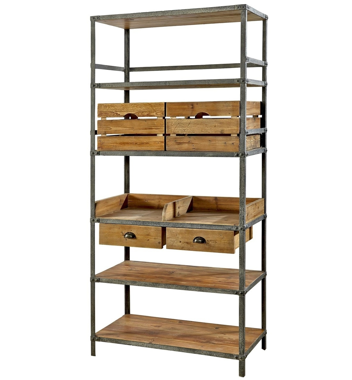 Iron And Wood Bookcases Within Well Known Bookcases Ideas: Bookcases Wood Metal And Glass Crate And Barrel (View 8 of 15)