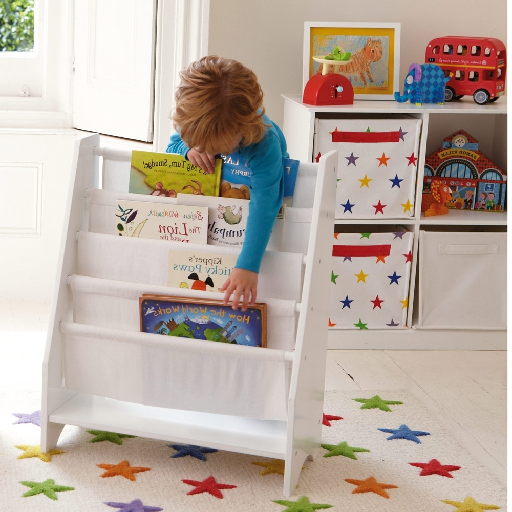 Kids Bookcases In Current Sling Bookcase With Plain White Canvas – Bookcases & Bookshelves (View 4 of 15)