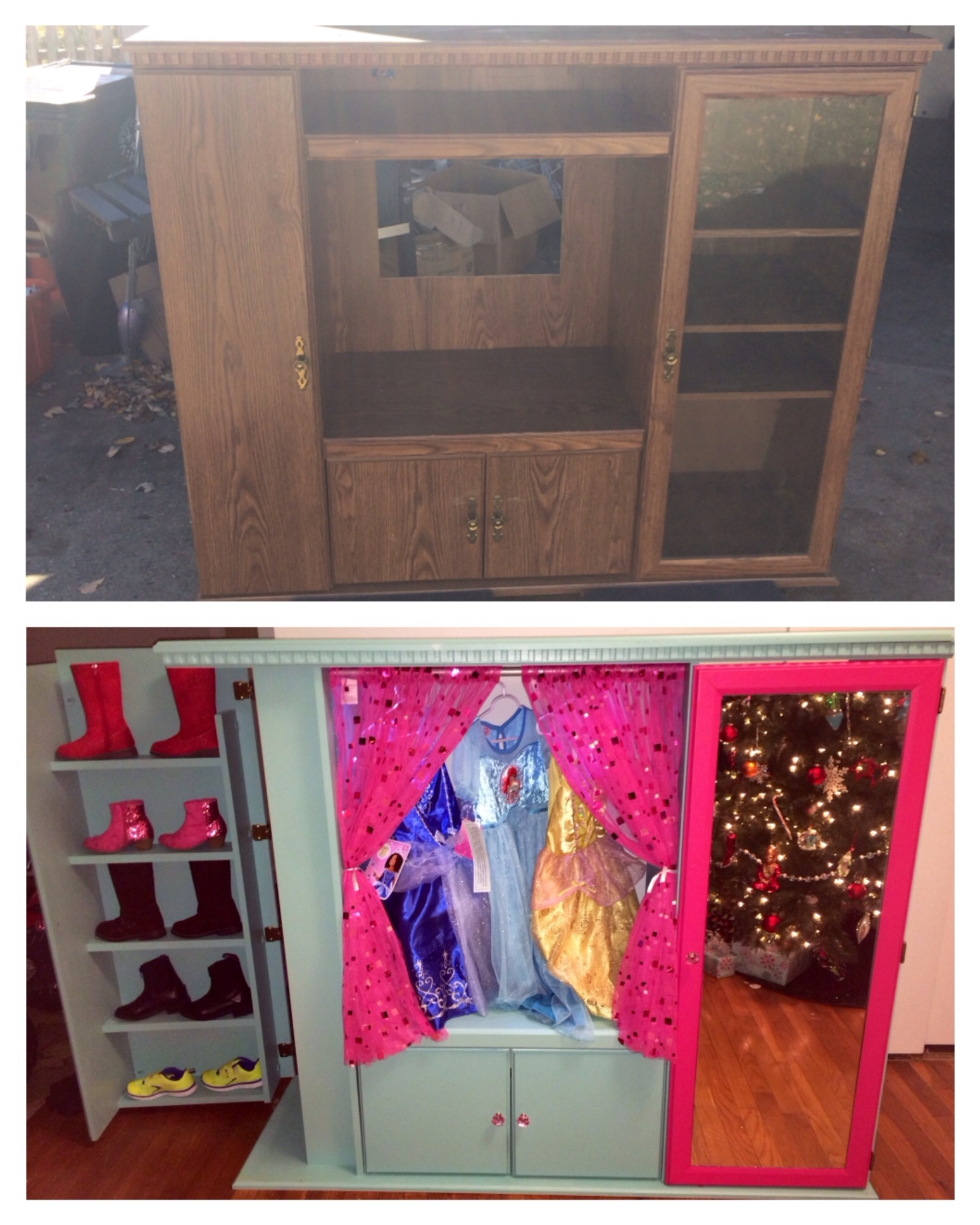 Kids Dress Up Wardrobes Closet Pertaining To Well Liked Upcycled Entertainment Center To A Dress Up Closet! (View 7 of 15)