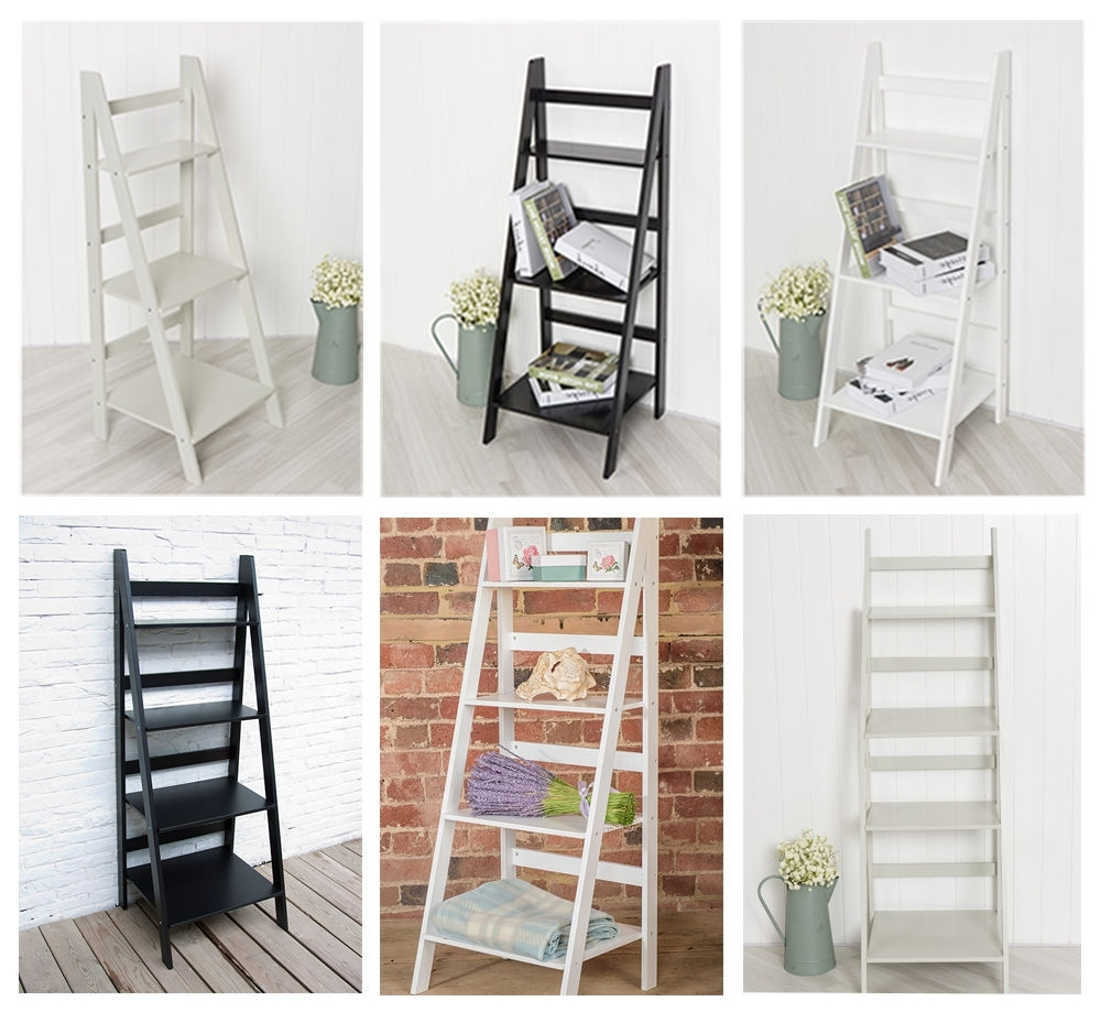 Ladder Book Shelf Bookcase Stand Free Standing Shelves Storage With Current Freestanding Bookcases (View 11 of 15)