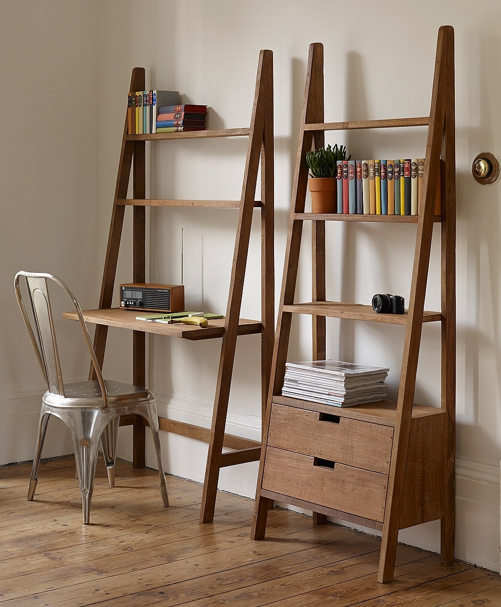 Ladder Bookcases With Drawers Regarding Current Sumatra Ladder Design Desk (View 5 of 15)