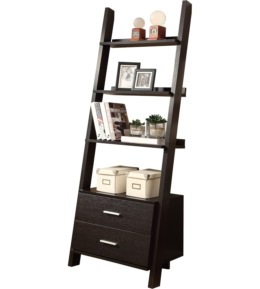 Ladder Bookcases With Drawers Throughout 2017 Ladder Bookcase With Storage Drawers In Bookcases (View 8 of 15)