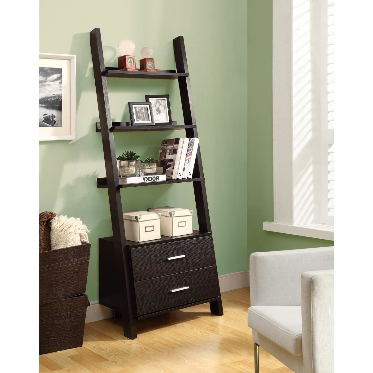 Ladder Bookcases With Drawers With Regard To Favorite Cappuccino 69 Inch Ladder Bookcase With Storage Drawers – Free (View 9 of 15)
