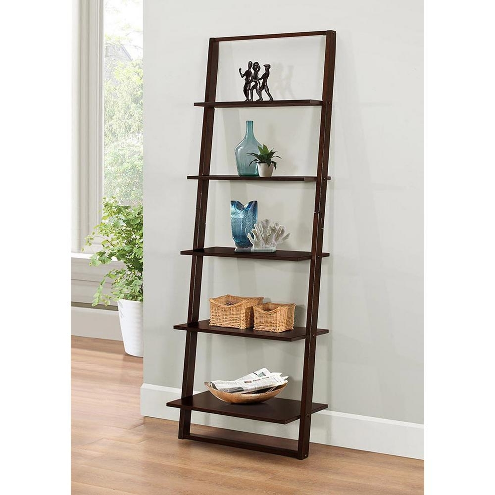 Ladder Bookcases Within Newest 4D Concepts Arlington Dark Cappuccino Ladder Bookcase 89835 – The (View 9 of 15)