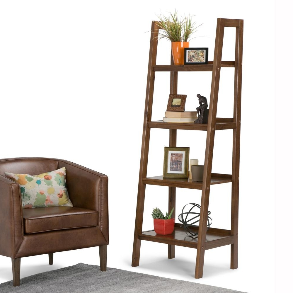 Ladder Bookcases Within Well Known Simpli Home Sawhorse Dark Chestnut Brown Ladder Bookcase 3Axcsaw (View 10 of 15)