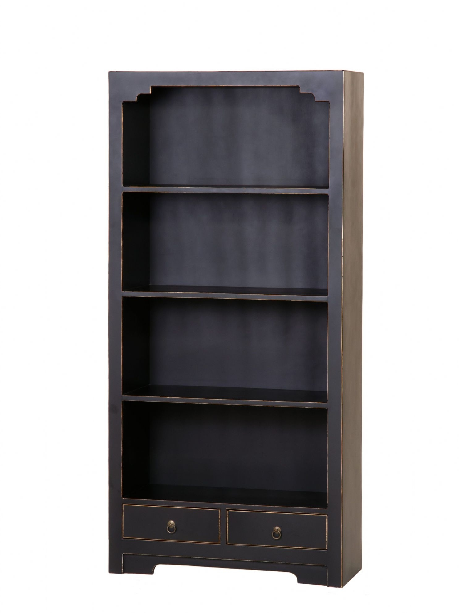 Large Black Bookcase, Black Solid Wood Bookcases Black Painted With Most Current Painted Wood Bookcases (View 8 of 15)