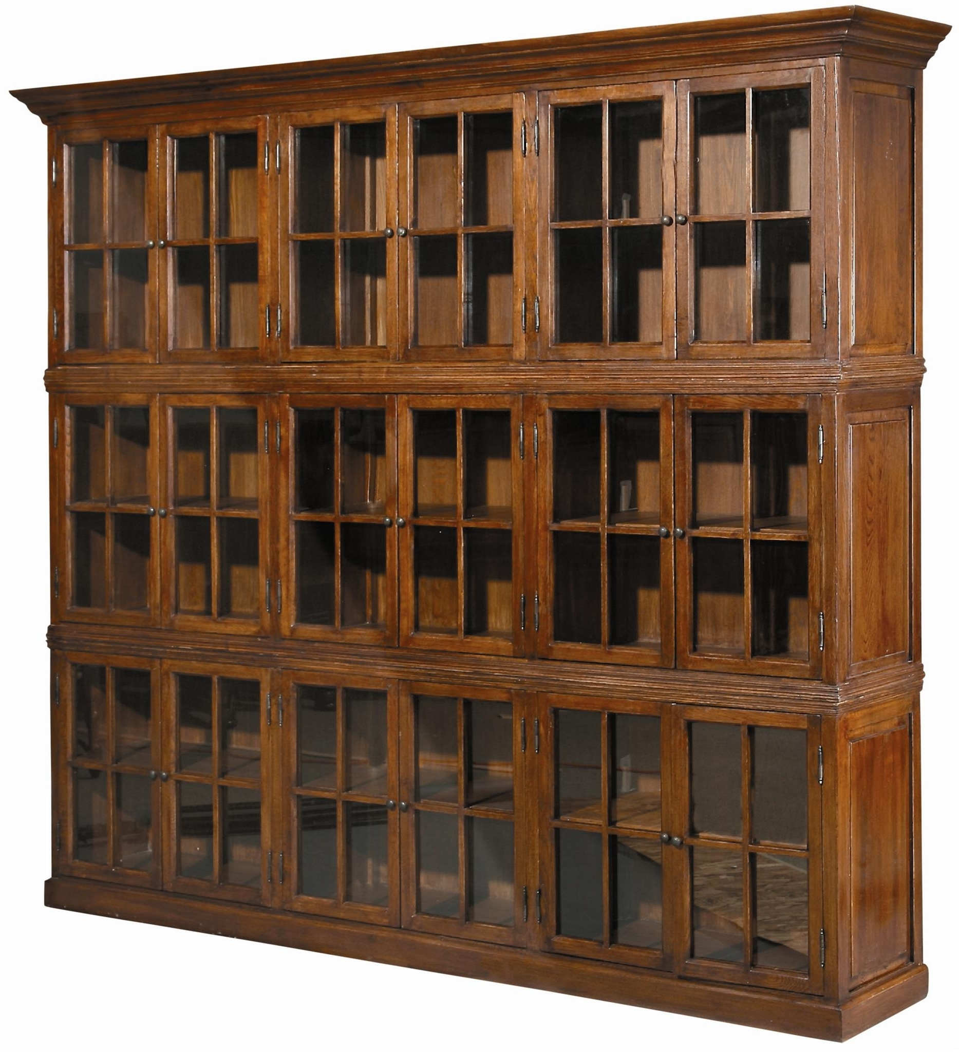 Large Brown Wooden Bookshelves With Glass Doors And Small Knobs Of Throughout Well Known Large Wooden Bookcases (View 6 of 15)
