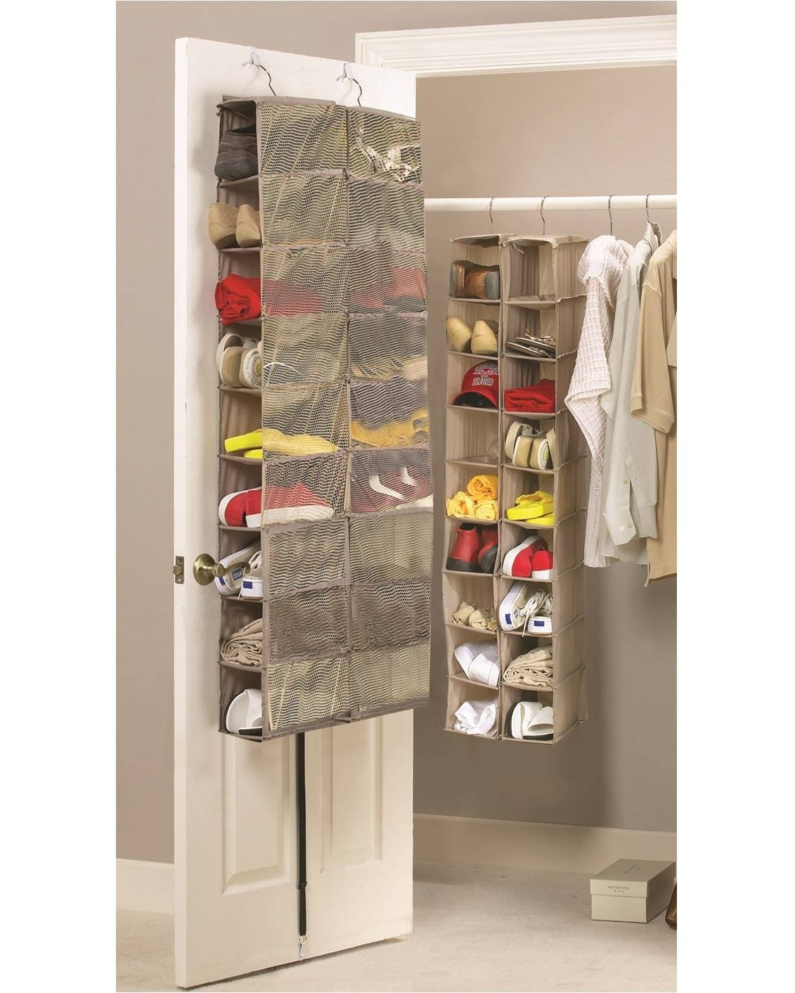 Large Heavy Duty 18 Pocket Hanging Shoe Organiser For The Wardrobe With Preferred Wardrobes Shoe Storages (View 7 of 15)