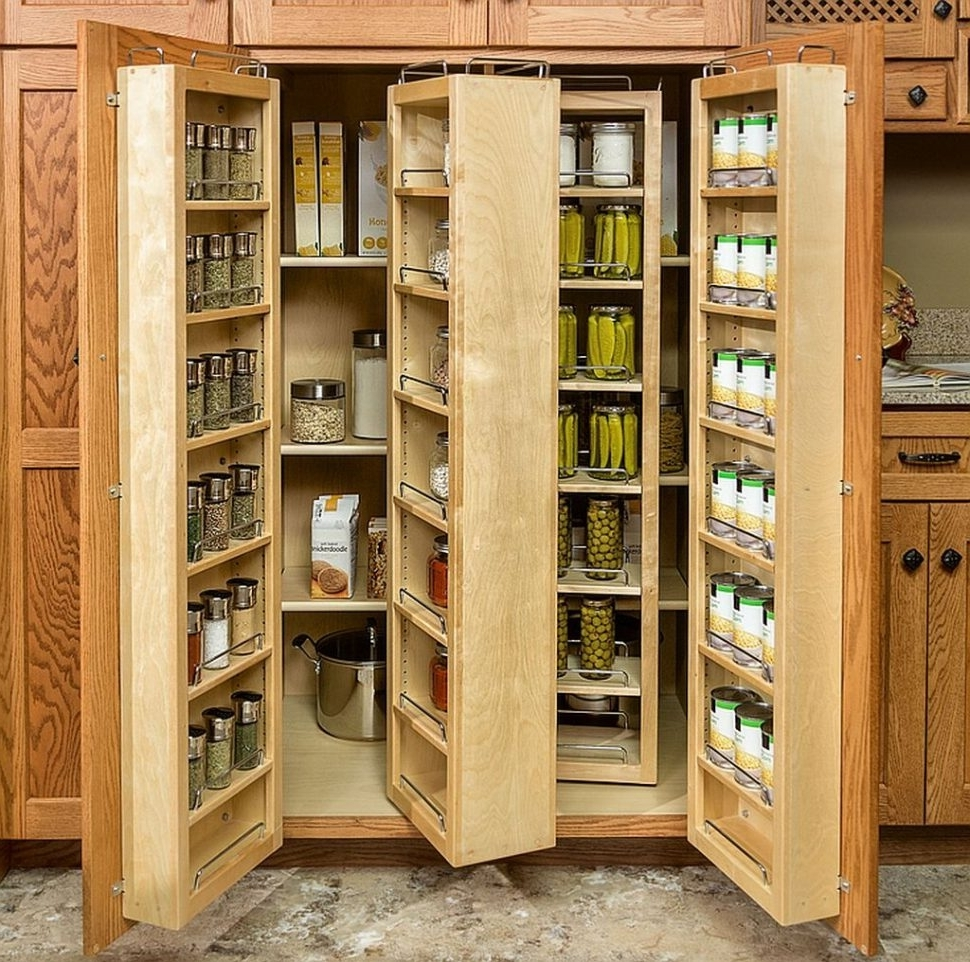Large Storage Cupboards Within Popular Kitchen : Narrow Cabinet With Doors Standing Pantry Kitchen Larder (View 4 of 15)