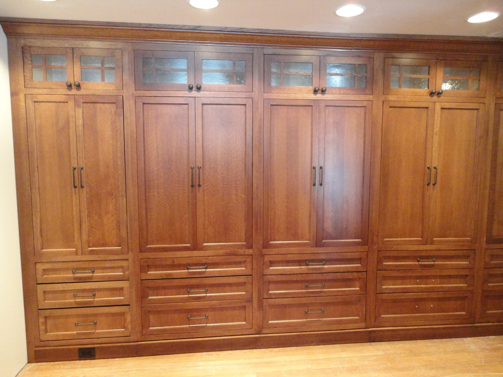 Large Wooden Wardrobes With Favorite High Cream Wooden Wardrobe With Sliding Door Also Shelves Inside (View 7 of 15)
