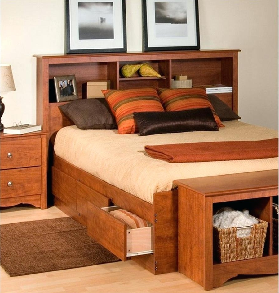Latest Full Size Headboard Bookcases With Bed Frames : Bookcase Queen Frame With Headboard Storage (View 8 of 15)