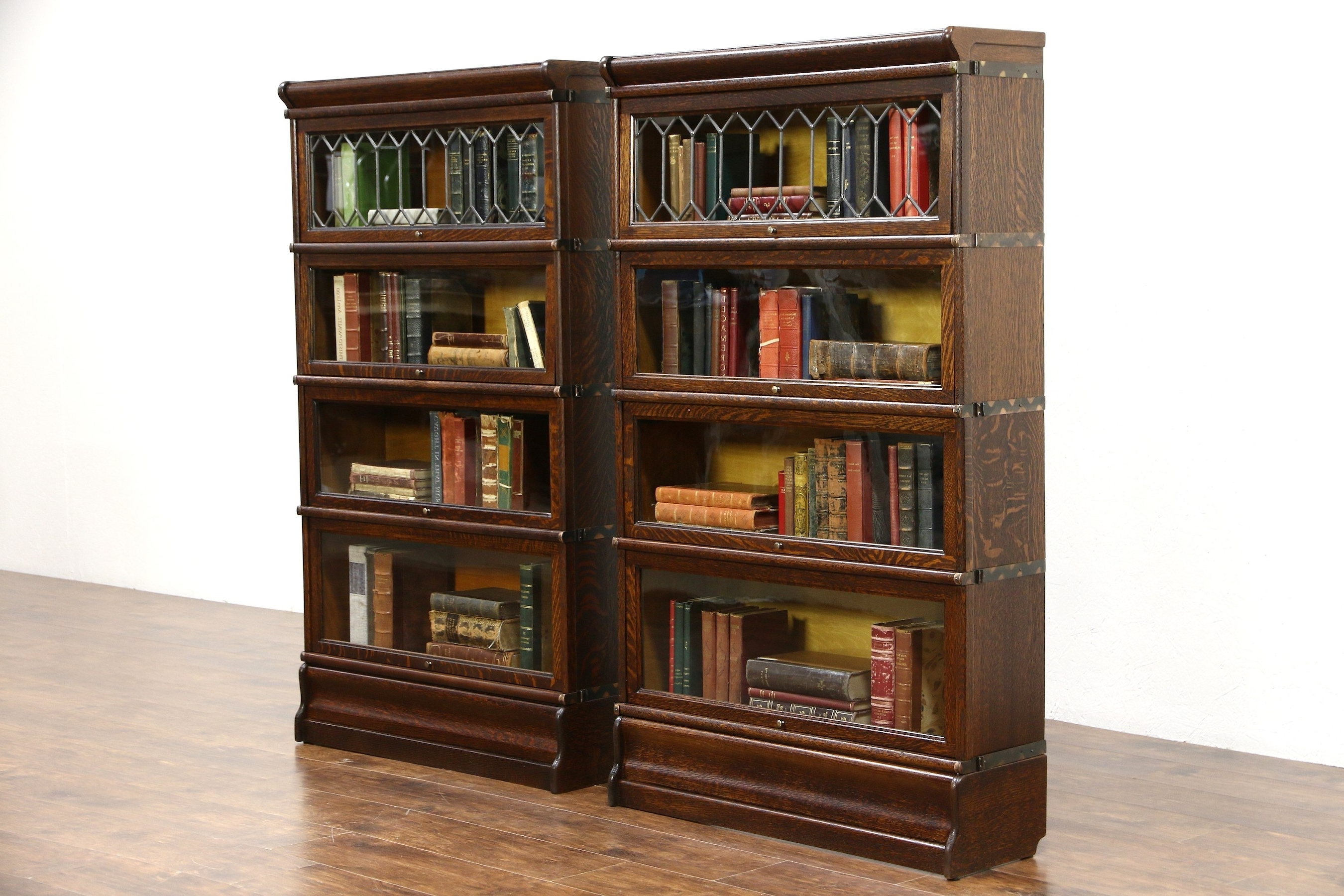 Latest Globe Wernicke Bookcases Regarding Sold – Pair Of Oak 4 Stack 1900 Antique Lawyer Bookcases, Leaded (View 10 of 15)