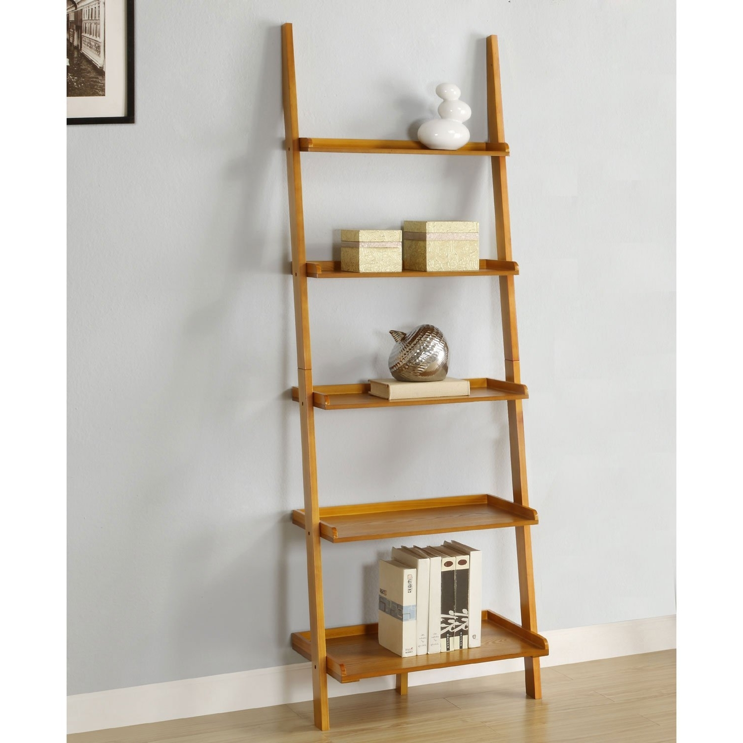 Latest Leaning Ladder Bookcases Throughout Amazon: Athomemart Leaning Ladder Bookshelf In Oak Finish (View 2 of 15)