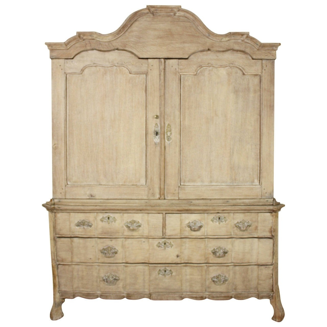 Latest Oak Linen Cupboard Intended For Antique Bleached 18Thc Dutch Oak Linen Press At 1Stdibs (View 7 of 15)