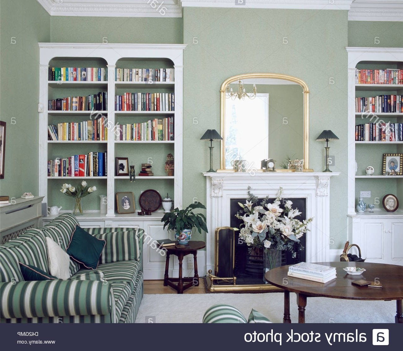 Latest Sofa Bookcases With Fitted White Bookcases On Either Side Of Fireplace In Gray Green (View 4 of 15)