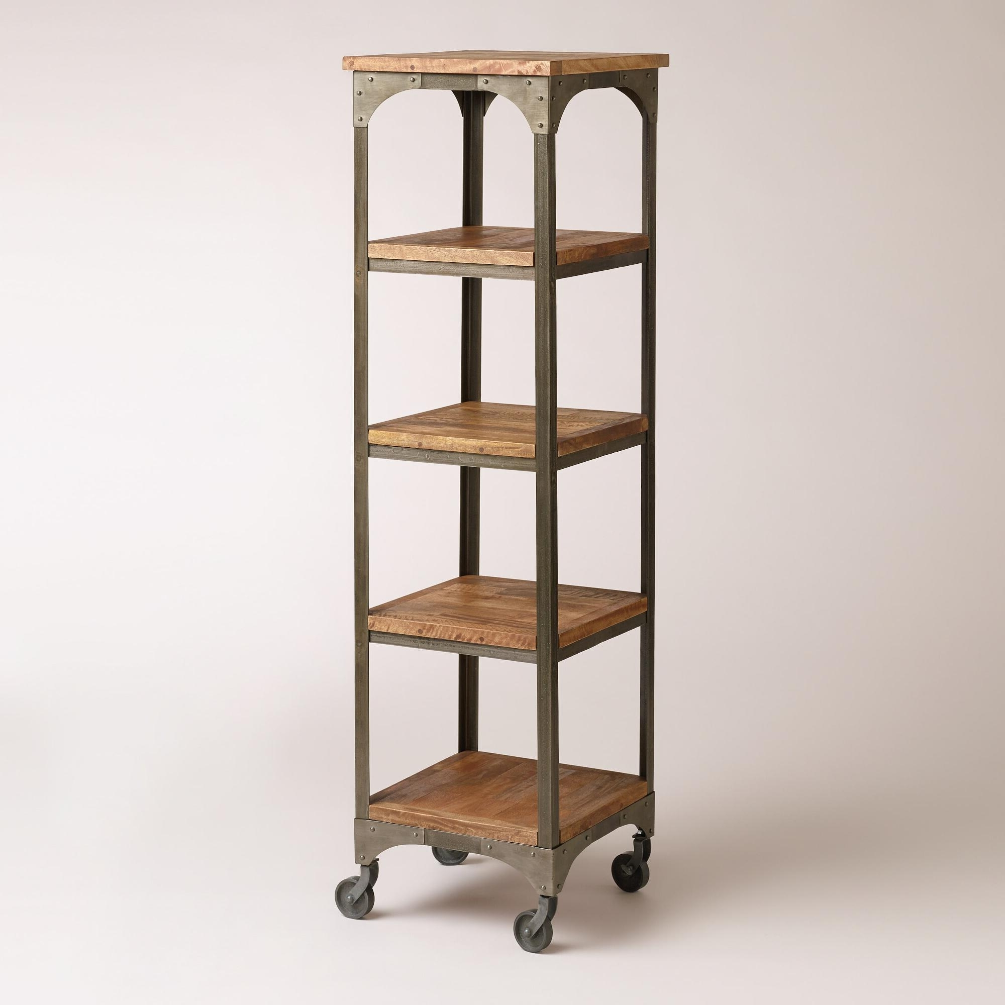 Latest World Market Bookcases In Our Four Shelf Tower Gives Your Space A Rustic, Industrial Feel (View 15 of 15)