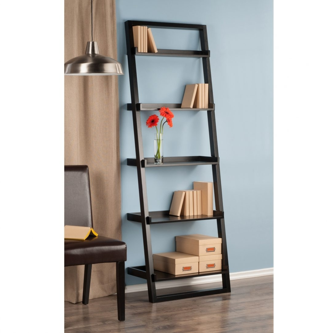 Leaning Shelf Bookcase With Deskleaning Drawersleaning Ladder Intended For Trendy Leaning Ladder Bookcases (View 9 of 15)