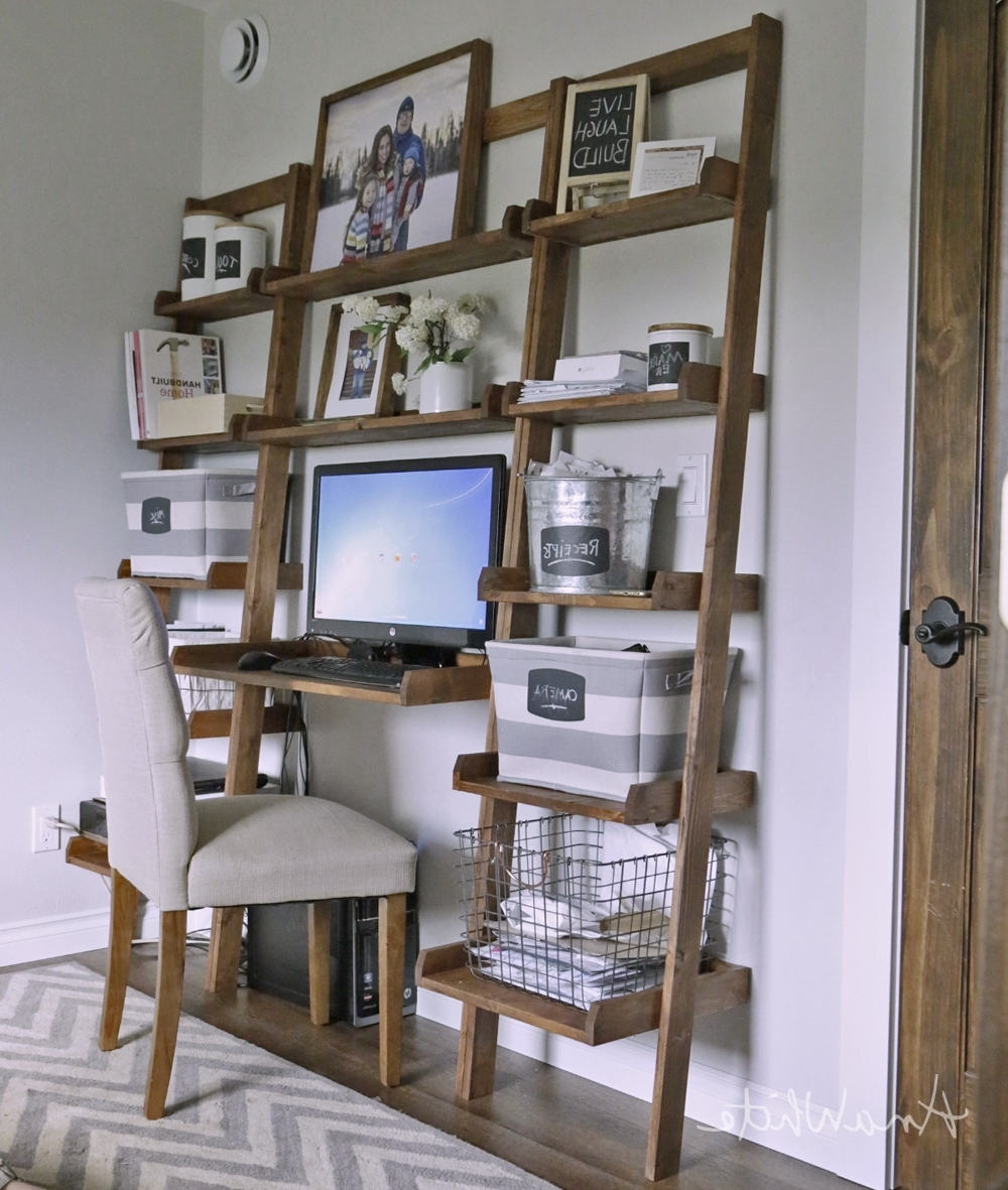 Leaning Wall Ladder Desk – Diy Projects Pertaining To Desktop Bookcases (View 8 of 15)